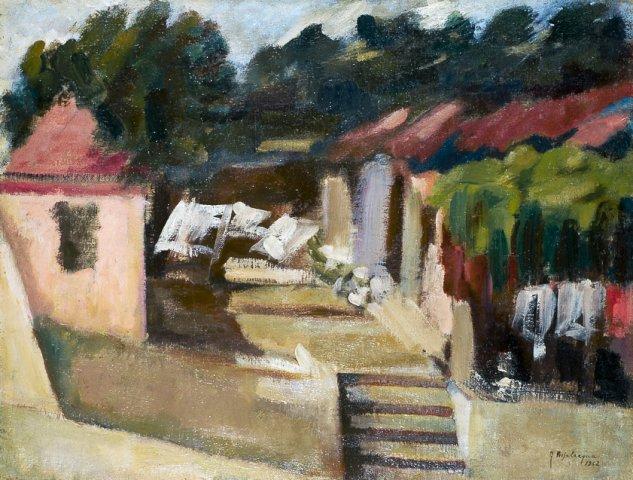 IL CORTILE DEI CUGINI GRILLI, 1962  Olio su tela cm 59x45