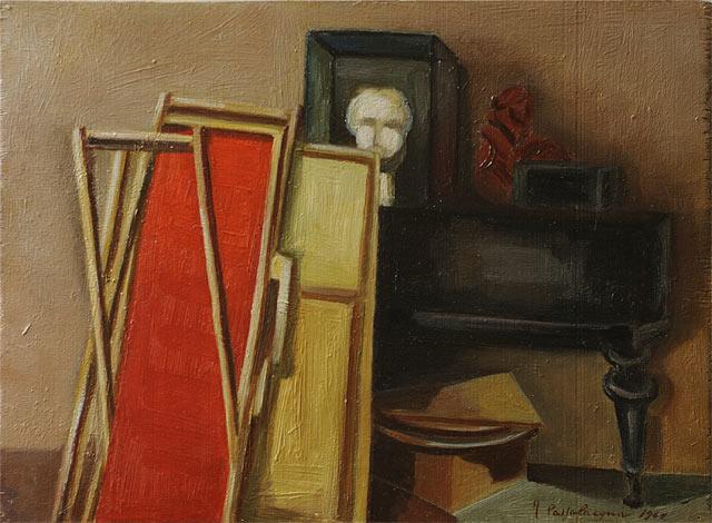 INTERNO STUDIO DI C.A.PETRUCCI CON PIANOFORTE, 1961   Olio su tavola cm 40x29