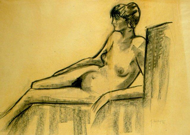 LA MODELLA, 1962  Carboncino su carta cm 68,5x48,2