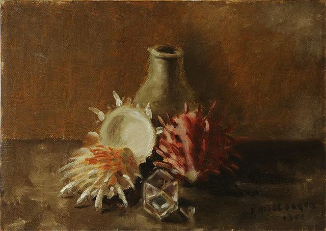 NATURA MORTA CON CONCHIGLIE, 1962  Olio su masonite 49x35