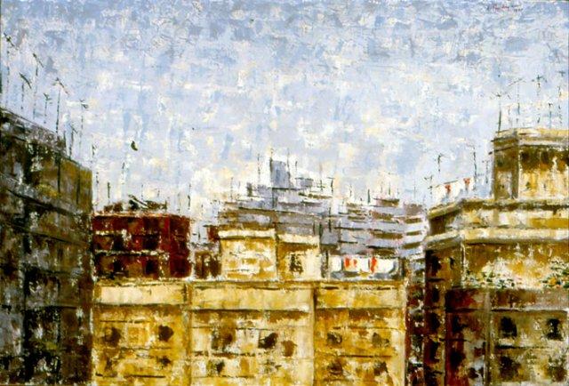 DAL TERRAZZINO DI V. LAURA MANTEGAZZA, 1965 Olio su tela cm 100x70