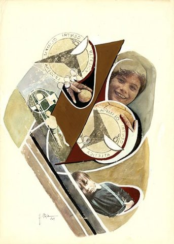L'AVVIO DEI PIU' GIOVANI, 1969 Riporti fotografici, inchiostri su carta cm 50x70