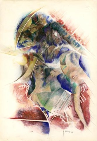 DI NOTTE, 1984 Rip. fotografici e matite colorate su carta cm 35x50