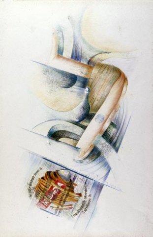 SPAGHETTI E BANANE, 1984 Rip. fotografici e matite colorate su carta cm 50x70