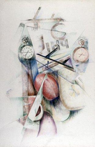 L'IDOLO DEL TEMPO, 1985 Rip. fotografici e matite colorate su carta cm 50x70