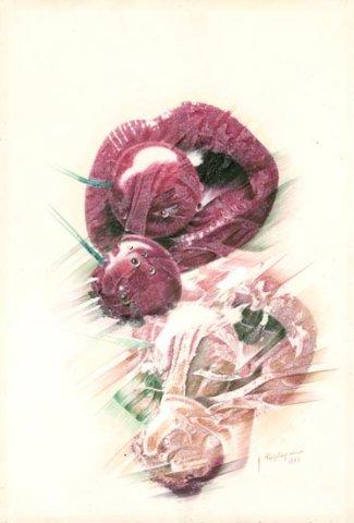 LO SPECCHIETTO PER LE ALLODOLE, 1987 Rip.fotografici e matite colorate su carta cm 33x48