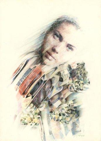 I TUOI OCCHI, 1991 Rip. fotografici e matite colorate su carta cm 50x70