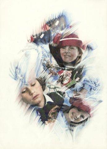 I RAGAZZI, 1991 Rip. fotografici e matite colorate su carta cm 50x70