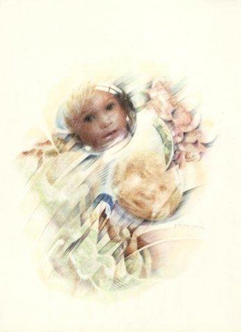 BIMBI, 1991 Rip. fotografici e matite colorate su carta cm 50x70