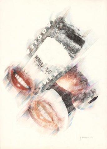 SORRISI, 1992 Rip. fotografici e matite colorate su carta cm 50x70