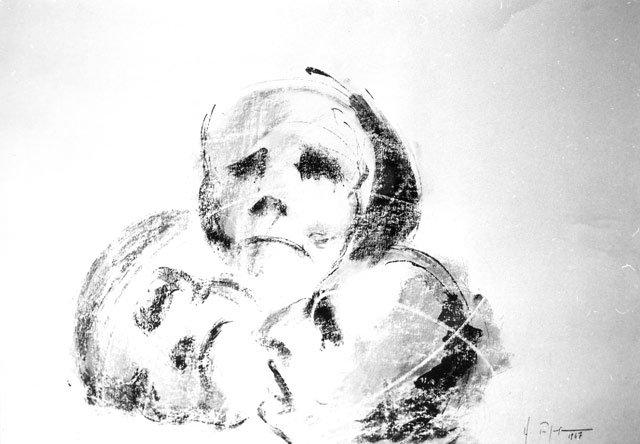 LAMENTO FUNEBRE, 1967 Tecnica mista su carta cm 70x50
