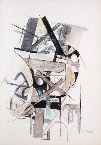 CANTIERE, 1969 Ripr. fotografiche e tempera su carta cm 50x70