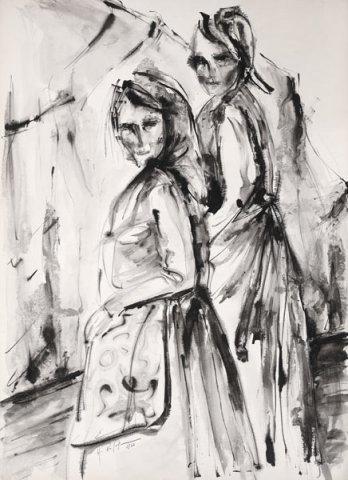 CONTADINE, 1966 Inchiostri su carta cm 50x70