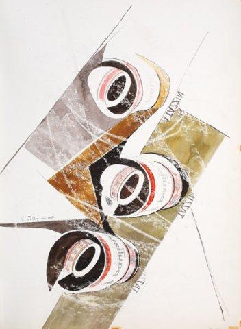 IL CAFFE', 1968 Ripr. fotografiche e acquerelli su carta cm 48x66,5