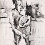 MAMMA CON BAMBINO,1966 Inchiostri su carta cm 50x70