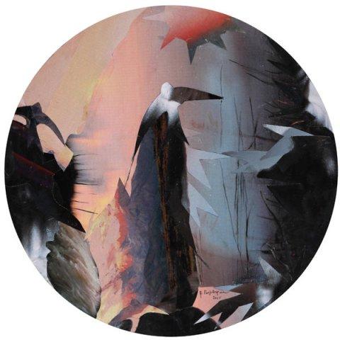 SMOG, 2015  Collage su carta diametro cm 24
