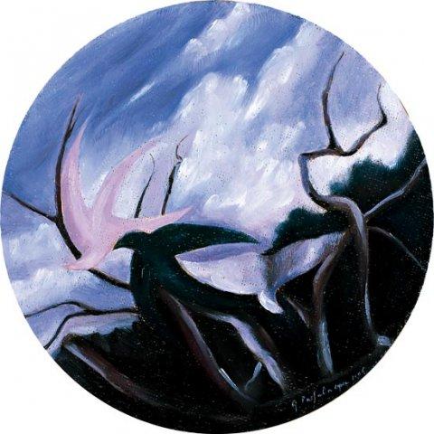 AGONIA, 2006 (aria)  Olio su masonite diametro cm 33