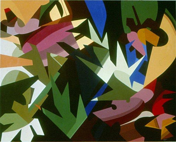 BOSCO, 1972  Acrilico su tavola cm 160x130