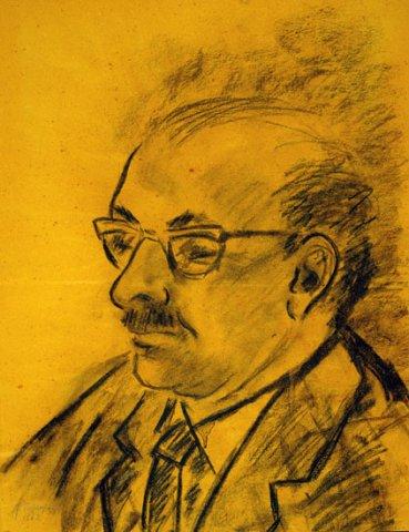 RITRATTO DI GIORGIO CILLO, 1962 Carboncino su carta ocra cm 41x52,8