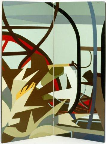COSTRUIRE (paravento), 1974  Acrilico su tavola cm 140x170