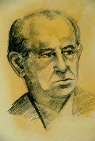 RITRATTO DI MARIO FEDERICI, 1963 Carboncino su carta cm 28X40,5