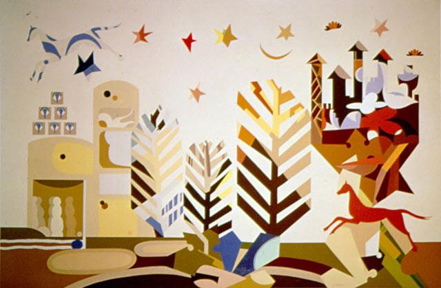 FIABE E LEGGENDE, 1974  Acrilico su tavola cm 200x150