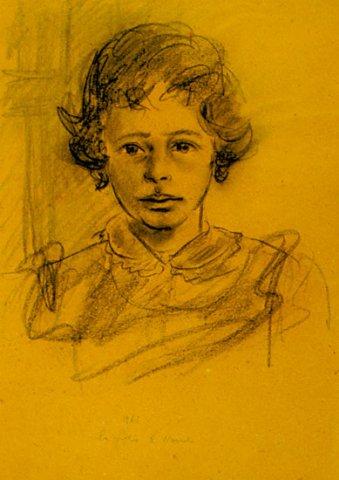 LA FIGLIA DI NANDO, 1963 Carboncino su carta ocra cm 40x 33,5