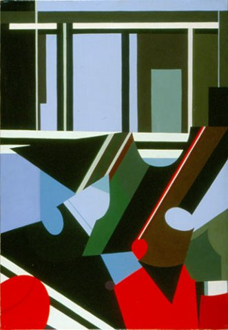 FOGLIE E STRUTTURE, 1974  Acrilico su tela cm 70x100