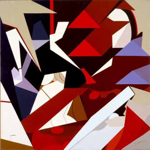 FRAMMENTI N.1, 1972  Acrilico su tavola cm 80x80