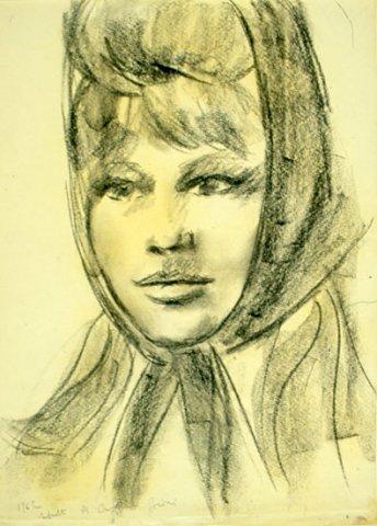 RITRATTO DI CRISTINA GAIONI, 1962 Carboncino su carta cm 42X43