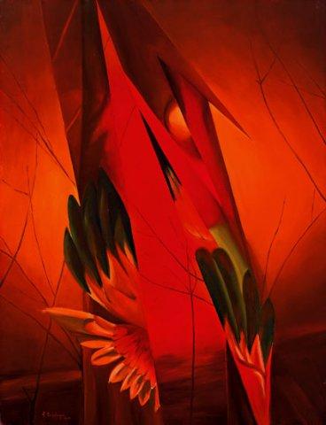 ICONE, 2002 (fuoco) Olio su tela cm 70X90