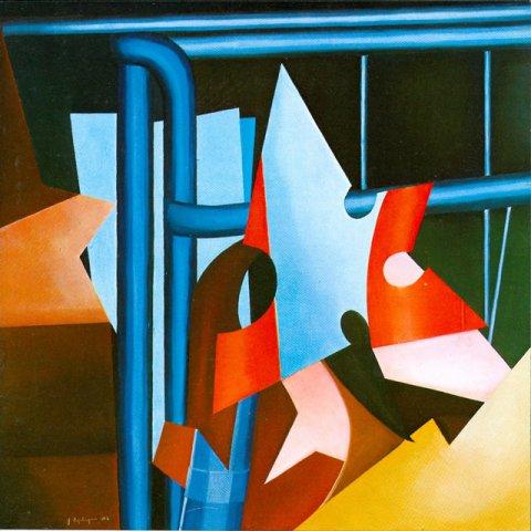 LIBERAZIONE DA UNA SITUAZIONE, 1982  Olio su tavola cm 90x90