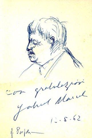 GABRIEL MARCEL,1962 Biro su carta cm 6,5x 12,4