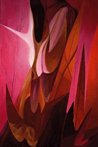 MISTERI, 2002 (fuoco) Olio su tela cm 67x100