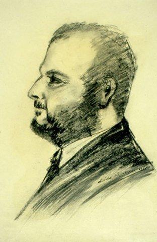 RITRATTO DI ALBERTO PERRINI, 1962 Carboncino su carta avorio cm 29x42