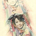 SHIRLEY MACLAINE, 1979  Riporti fotografici e matite colorate su carta cm 35x50