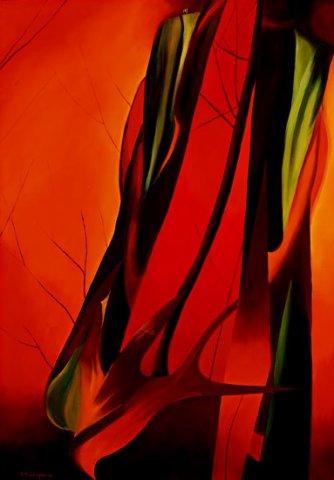 TENSIONE, 2003 (fuoco) Olio su tela cm 70x100