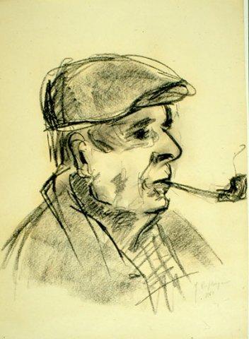 U' ZII CICCIO, 1961 Carboncino su carta cm 32x43,5